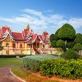 Outdoor Park With Buddhist Society Hall. Vientiane, Laos,