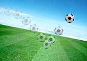 Movement Of Soccerball And Beautiful Blue Sky