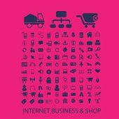 internet business, shop, commerce, retail, e-commerce icons, signs set, vector