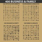 400 business, family, holidays, health, office, media icons, signs, illustrations set, vector
