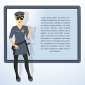 Frame with cop woman. Vector presentation template..