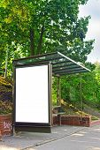 picture of bus-shelter  - Empty bus shelter with blank poster as copy space urban outdoor advertising backdrop - JPG