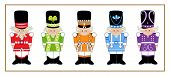 pic of nutcracker  - Set of five cartoon nutcrackers in different designs and colors - JPG