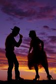 Cowboy Couple Silhouette Man Hand On Hat