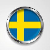 Swedish vector metal button flag