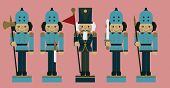 stock photo of nutcracker  - set of christmas soldier nutcrackers vector eps 10 - JPG