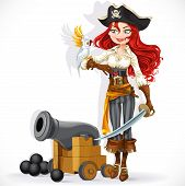 pirate girl with parrot and cannonry