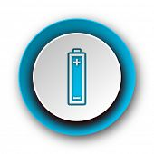 battery blue modern web icon on white background