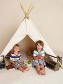 picture of teepee  - Children kids playing at home indoors in a teepee tent