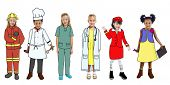 Group of Children in Dreams Job Uniform