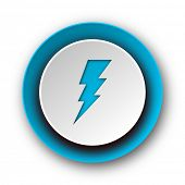 bolt blue modern web icon on white background