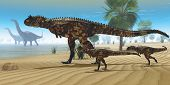 picture of apatosaurus  - A Carnotaurus mother brings her offspring down to a river to drink as two Apatosaurus dinosaurs wade by - JPG