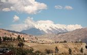 La Paz and Illimani mountain peak in Bolivia