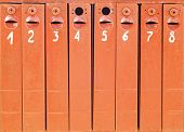 eight old mail boxes background