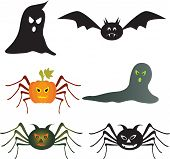 stock photo of spooky  - isolated spooky Halloween vectors - JPG