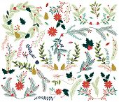 stock photo of christmas wreath  - Vector Collection of Vintage Style Hand Drawn Christmas Holiday Florals - JPG