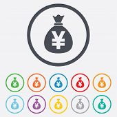 Money bag sign icon. Yen JPY currency.