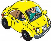 picture of beetle car  - Children vector illustration of small yellow retro car - JPG