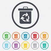 Recycle bin icon. Reuse or reduce symbol.