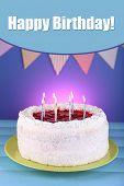 Cake on blue background