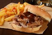 Pork Sandwich And Beer