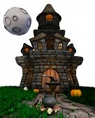 3D Render of Morph Man Witch with haunted house on white background