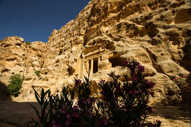 foto of camel-cart  - The ancient ruins of Little Petra an archaeological site near the bigger site of Petra Jordan - JPG