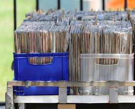 stock photo of lp  - LP vinyl records collection in plastic crates - JPG