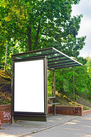 pic of bus-shelter  - Empty bus shelter with blank poster as copy space urban outdoor advertising backdrop - JPG