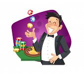Man play roulette in casino. Eps10 vector illustration. Isolated on white background