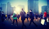 Commuter Business District Walking Crowd Cityscape Concept