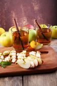 picture of cider apples  - still life with apple cider and fresh apples on wooden table - JPG