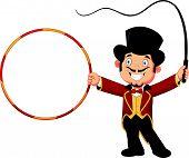 Cartoon tamer holding ring