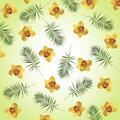 Orchid flowers and palm leaves as wallpaper