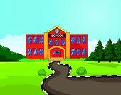 Cartoon school building background