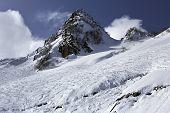 Beautiful snow-capped Caucasus Mountains.
