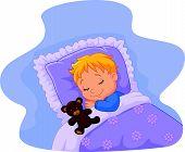 picture of teddy  - Vector illustration of Cartoon baby sleeping with teddy bear - JPG