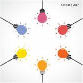 Creative Light Bulb Idea Concept Banner Background. Brainstorming And Teamwork Concept