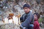 Two Tibetan Boys With Basket