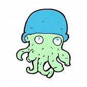 retro comic book style cartoon alien head wearing hat