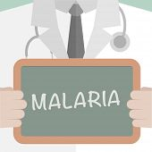minimalistic illustration of a doctor holding a blackboard with Malaria text, eps10 vector