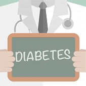 minimalistic illustration of a doctor holding a blackboard with Diabetes text, eps10 vector