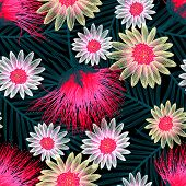 Colorful Cottage Floral Embroidery Seamless Pattern