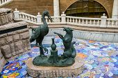 pic of metal sculpture  - Crane and Fox sculpture in Moscow Russia - JPG
