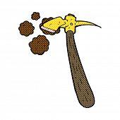retro comic book style cartoon pick axe