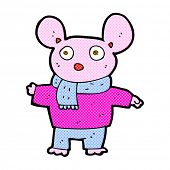retro comic book style cartoon mouse in clothes