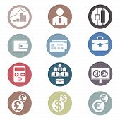 Colored Financial Icons Set