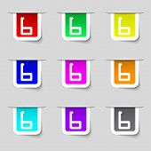 Number Six Icon Sign. Set Of Coloured Buttons. Vector