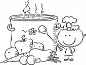 Little chef with a giant boiling pot