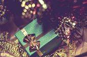 Xmas Tree And Green Gift Box